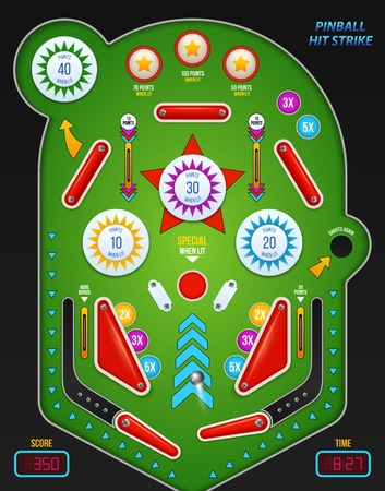 Colored and realistic 3 d pinball composition with pinball hit strike description vector illustration Vectores