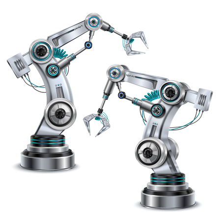 Robotic arm realistic set with modern technology symbols isolated vector illustration