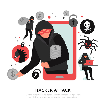 Hacker attack composition with digital robbery and malware icons on white background flat vector illustration Çizim