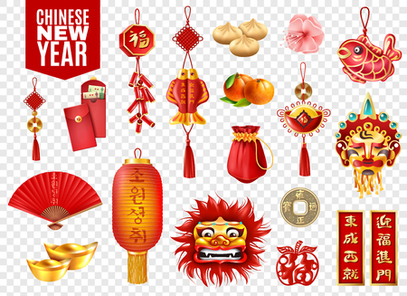 Chinese new year transparent set of red envelopes lanterns coins traditional festive decoration dumplings and oranges isolated vector illustration