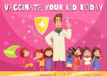 Manifesto di promozione dei benefici della vaccinazione dei bambini con il simbolo dello scudo di protezione della salute dei bambini medico con illustrazione vettoriale del fumetto della siringa