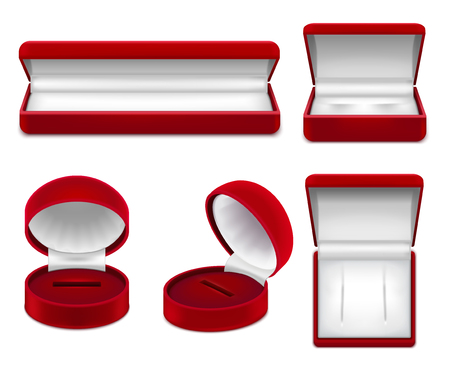 Set of realistic open red jewelry boxes for necklace bracelet ear rings or studs isolated vector illustration Illustration