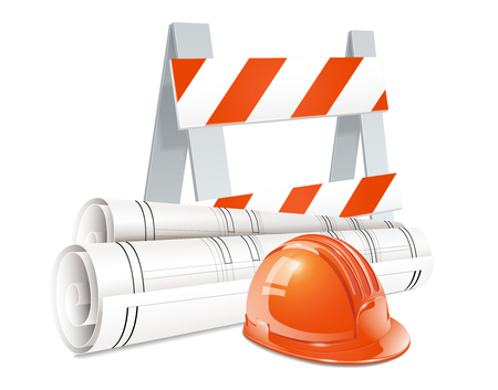 Construction design concept set of road barrier orange helmet and roll of engineering drawings realistic elements vector illustration