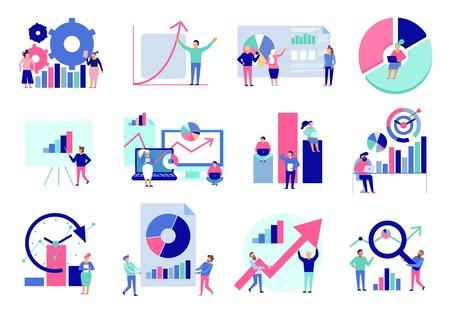 Diagramas de análisis de datos, resultados gráficos, presentación, herramientas de análisis, técnicas, toma de decisiones, colección de iconos planos, ilustración vectorial aislada