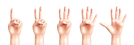 Realistic people hands counting from one to five isolated on white background vector illustration