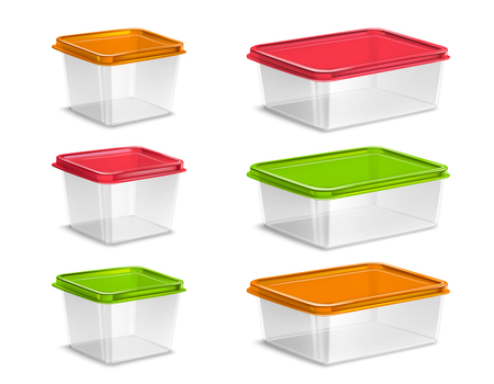 Plastic colored food containers set realistic isolated vector illustration Illustration