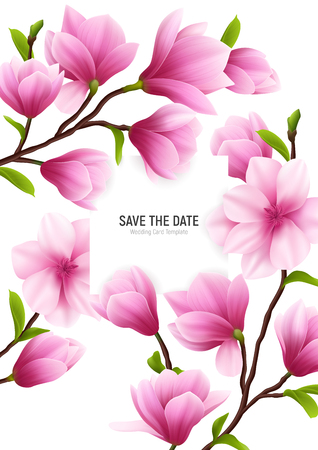 Colored realistic magnolia flower frame with save the date headline and delicate pink flowers vector illustration