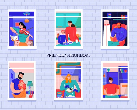 Friendly neighbors during various activity in windows of home on gray brick wall background vector  illustration Illustration