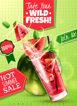Refreshing detox water summer sale with fresh watermelon mint leaves drink glass realistic advertising poster vector illustration