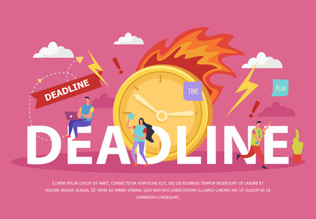 Deadline flat composition with human characters burning clock lightnings and exclamation marks on pink background vector illustration
