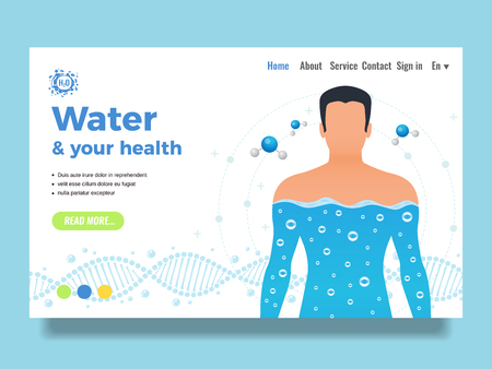 Body and water site design with water functions symbols flat vector illustration