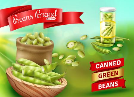 Cartel publicitario realista con ilustración de vector de judías verdes enlatadas naturales Ilustración de vector