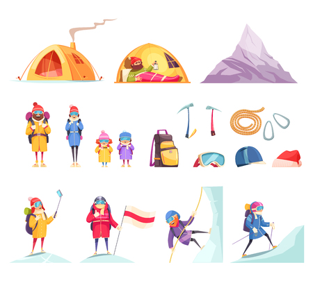 Mountaineering cartoon set with climbers gear equipment clothing tent helmet ice axes rope mountain vector illustration Ilustração