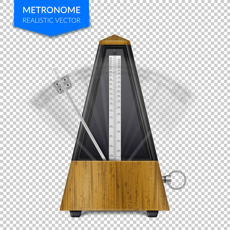 Vintage wooden style of classic metronome with pendulum in motion on transparent background realistic vector illustration