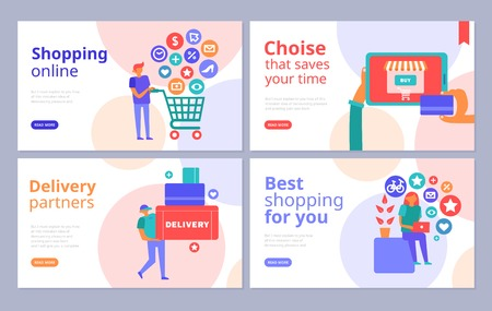 Online shopping concept 4 flat banners set with internet browsing credit card payment delivery partners vector illustration