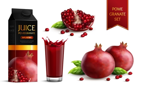 Ripe dark red pomegranates whole segments scattered seeds juice package and glass realistic images set vector illustration Illustration