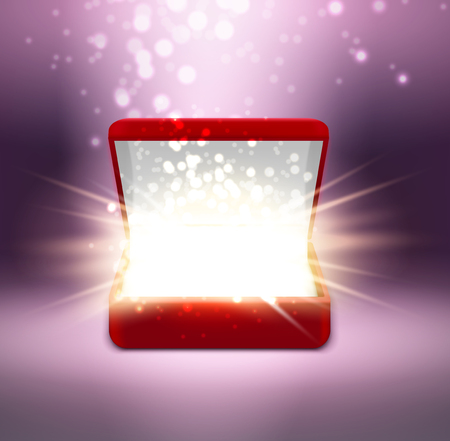 Realistic red open jewelry box with shine on blurred purple background vector illustration Stock Illustratie