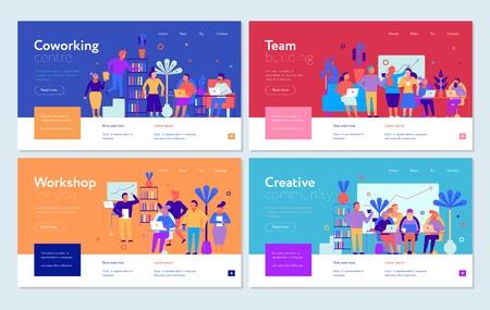 Coworking horizontale Banner mit Team- und Werkstattsymbolen flach isolierte Vektorillustration Vektorgrafik