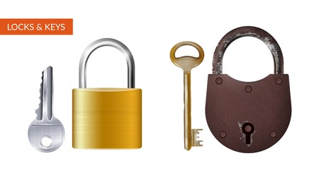 Two realistic kits of padlock with key for safety and security protection isolated vector illustration