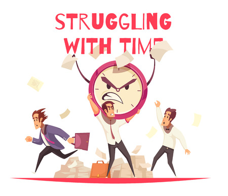 Struggling with time design concept with angry cartoon face of alarm clock and people hurrying to work vector illustration