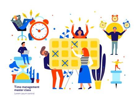 Conseils de gestion du temps symboles éléments plats sertis de réveil jonglant avec un contrôle de planification efficace masterclass illustration vectorielle Vecteurs