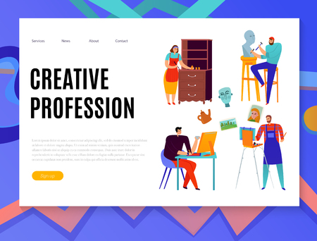 Creative professions web banner with graphic designer painter master of sculpture and renovator of furniture vector illustration Illustration
