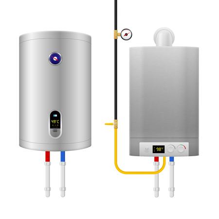 Farbige realistische Zusammensetzung des Warmwasserbereiters mit zwei isolierten und unterschiedlichen Geräten und Rohren Vektorillustration