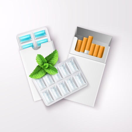 Realistic chewing gum in blister packaging and open pack of cigarettes with peppermint leaves vector illustration Иллюстрация