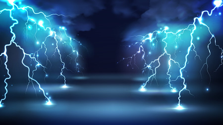 Realistic lightning bolts flashes composition with images of clouds in night sky and radiant glowing lightning strokes vector illustration Ilustração