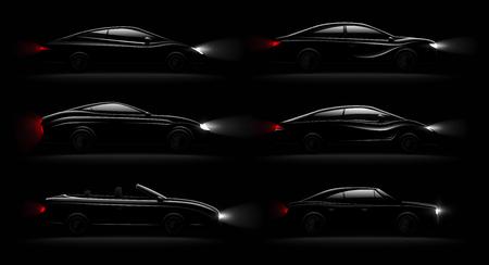Lightened cars in darkness realistic 6 black luxury automobiles lamps lit set with cabriolet sedan hatchback vector illustration Reklamní fotografie - 111825002