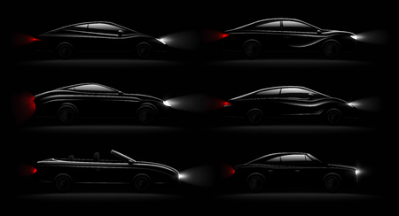 Lightened cars in darkness realistic 6 black luxury automobiles lamps lit set with cabriolet sedan hatchback vector illustration
