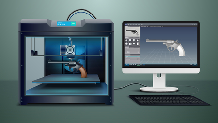 Realistic composition with pistol 3d printing process vector illustration