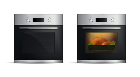 Set of realistic silver ovens with dish from poultry inside on white background isolated vector illustration Ilustração