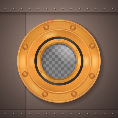 Gold porthole 3d realistic composition porthole on a ship or a submarine vector illustration