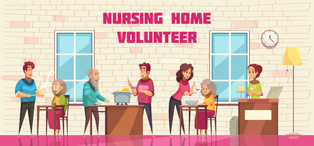 Volunteer social help and support for elderly people in nursing home flat cartoon horizontal banner vector illustration Standard-Bild - 112468115
