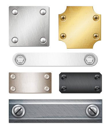 Set of realistic metal plates of various shape and color with fasteners isolated vector illustration