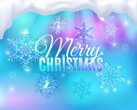 Christmas background with editable text and foggy glass snowhawk with snowflakes and gradient lights glowing particles vector illustration