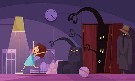 Childhood nightmares background with monsters and darkness symbols vector illustration