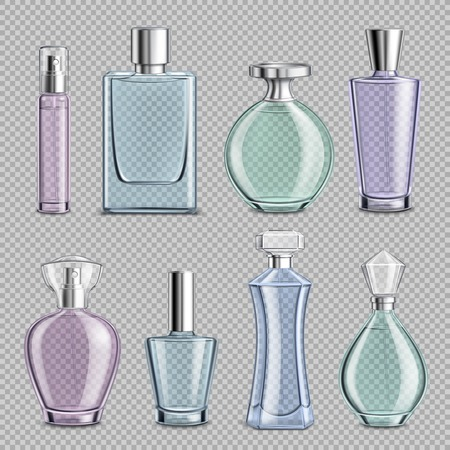 Perfume glass bottles set on transparent background realistic isolated vector illustration