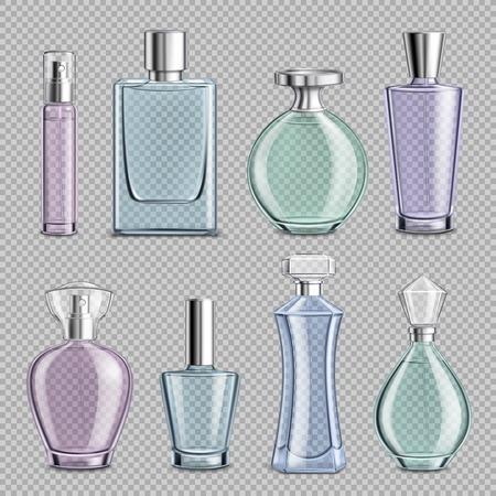 Perfume glass bottles set on transparent background realistic isolated vector illustration
