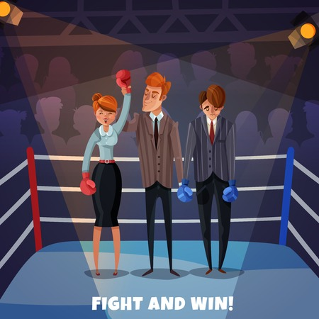 Business winner loser characters women men background with boxing ring and business people fight and win vector illustration