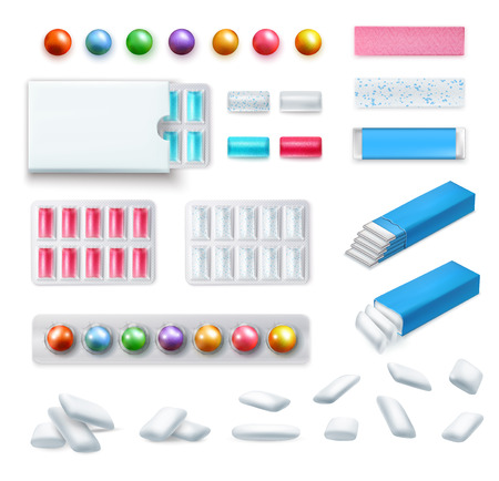 Set of realistic chewing gum of various shape and color in packaging and without isolated vector illustration