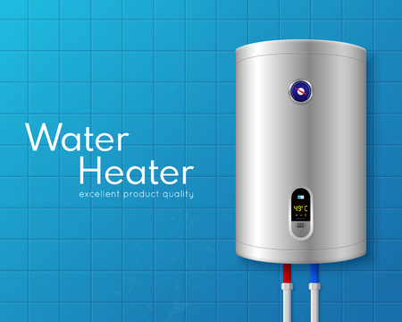 Colored realistic electric water heater boiler poster with big white headline and on light blue wall vector illustration