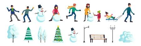 Set di elementi piatti della città invernale con persone che pattinano palle di neve combattono la famiglia facendo illustrazione vettoriale di un albero di natale pupazzo di neve