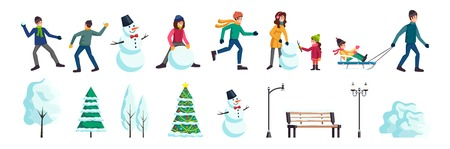 Winter city flat elements set with people skating snowballs fight family making snowman christmas tree vector illustration