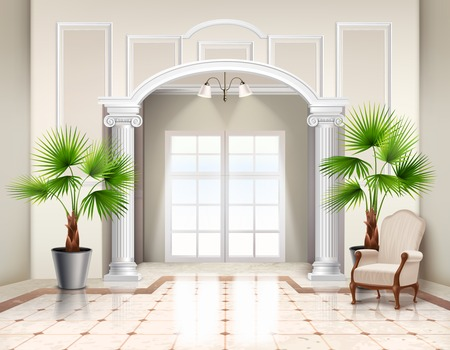 Indoor potted fan palm trees as decorative houseplants in classic spacious vestibule interior design realistic vector illustration
