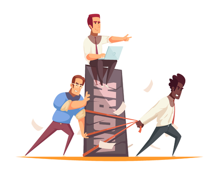 Business people design concept with team of coworkers performing hard work under guidance of boss vector illustration Illustration