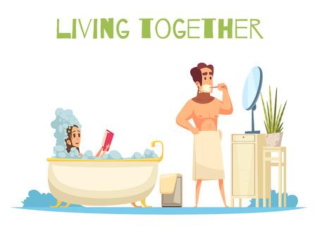 Living together concept with taking a bath symbols flat vector illustration Illustration