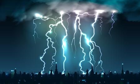 Des éclairs réalistes font clignoter la composition des coups de foudre et des éclairs sur le ciel nocturne avec illustration vectorielle de silhouette de paysage urbain
