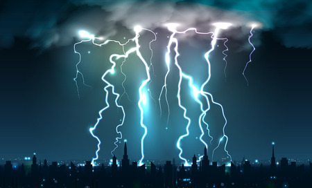 Realistic lightning bolts flashes composition of lightning strokes and thunderbolts on night sky with cityscape silhouette vector illustration